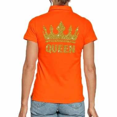 Koningsdag poloshirt queen goud glitter oranje dames