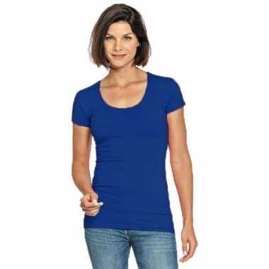 Lang dames t shirt blauw ronde hals