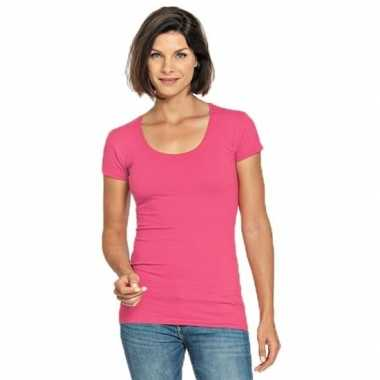 Lang dames t shirt fuchsia roze ronde hals