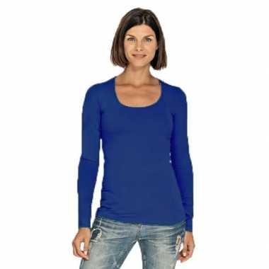Lang dames t shirt lange mouwen blauw ronde hals