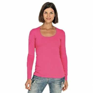Lang dames t shirt lange mouwen fuchsia roze ronde hals