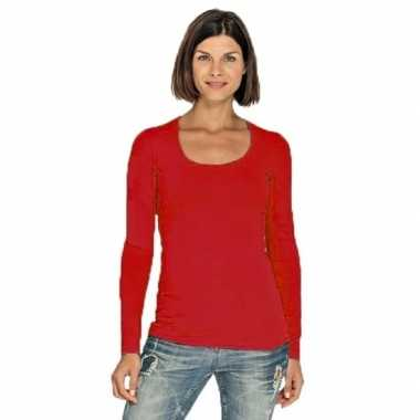 Lang dames t shirt lange mouwen rood ronde hals