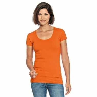 Lang dames t shirt oranje ronde hals