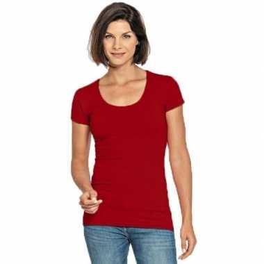 Lang dames t shirt rood ronde hals