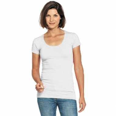 Lang dames t shirt wit ronde hals