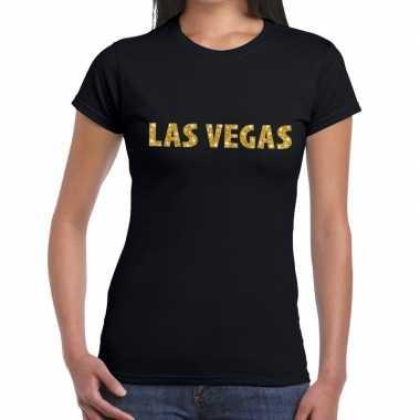 Las vegas gouden glitter tekst t shirt zwart dames