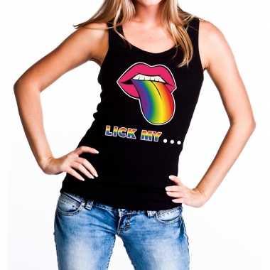 Lick my...mond/tong regenboog gay pride tanktop/mouwloos shirt z