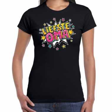 Liefste oma cadeau t shirt zwart dames