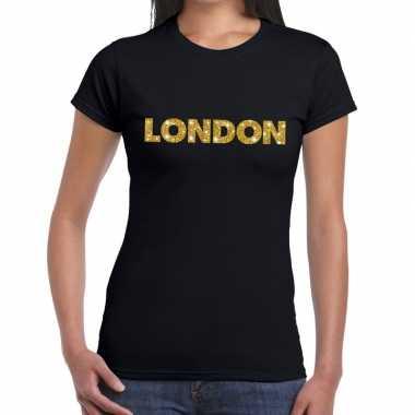 London goud glitter tekst t shirt zwart dames