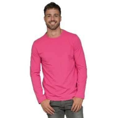 Longsleeves basic shirts fuchsia mannen