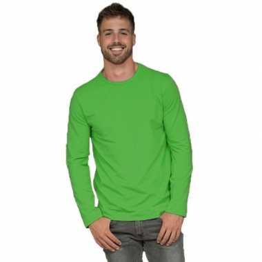 Longsleeves basic shirts limegroen mannen