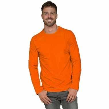 Longsleeves basic shirts oranje mannen