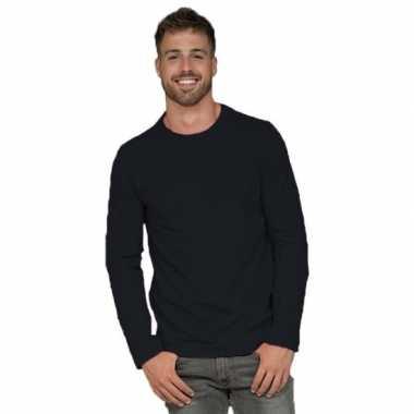 Longsleeves basic shirts zwart mannen
