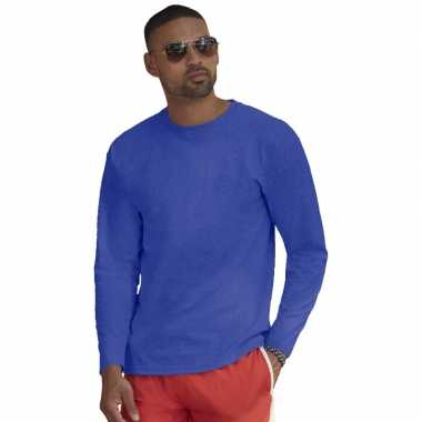 Longsleeves basic t shirts blauw mannen