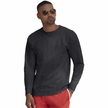 Longsleeves basic t shirts donkergrijs mannen