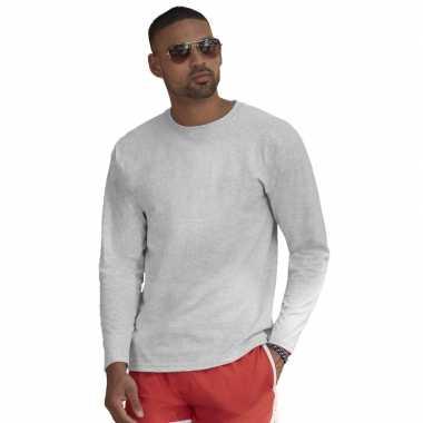 Longsleeves basic t shirts grijs mannen