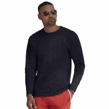 Longsleeves basic t shirts navy blauw mannen