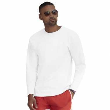 Longsleeves basic t shirts wit mannen