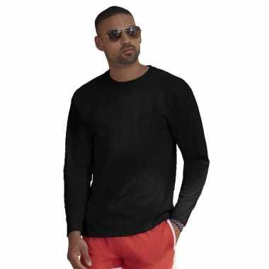 Longsleeves basic t shirts zwart mannen
