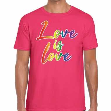 Love is love gay pride t shirt roze heren