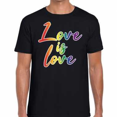 Love is love gay pride t shirt zwart heren