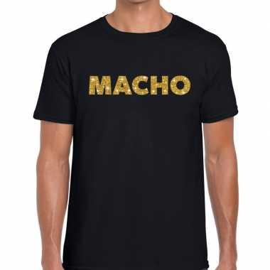 Macho goud glitter tekst t shirt zwart heren