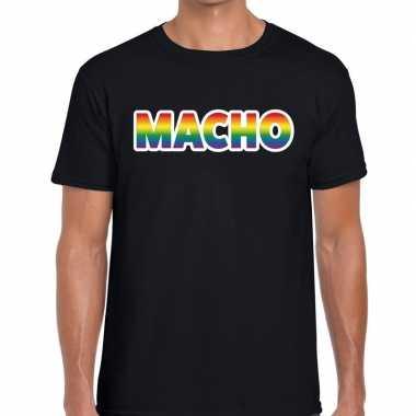 Macho regenboog gay pride shirt zwart heren