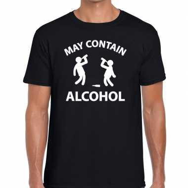 May contain alcohol fun t shirt zwart heren