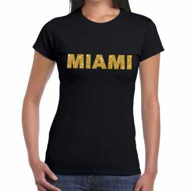 Miami gouden glitter tekst t shirt zwart dames