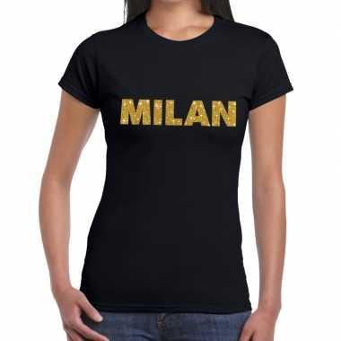 Milan gouden glitter tekst t shirt zwart dames