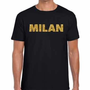 Milan gouden glitter tekst t shirt zwart heren