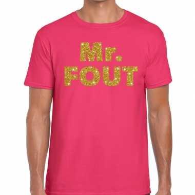 Mr. fout gouden glitter tekst t shirt roze heren