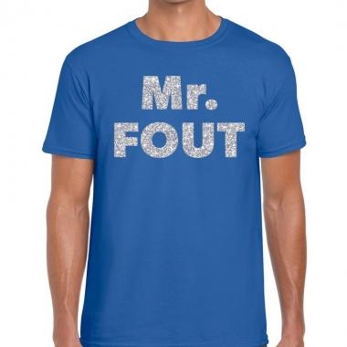 Mr. fout zilveren glitter tekst t shirt blauw heren