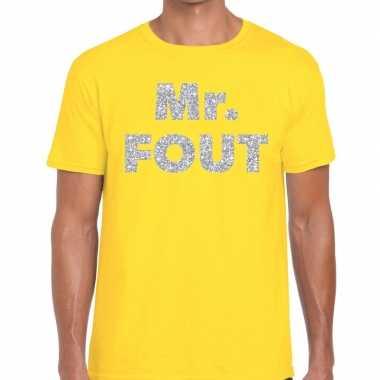 Mr. fout zilveren glitter tekst t shirt geel heren