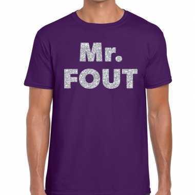 Mr. fout zilveren glitter tekst t shirt paars heren