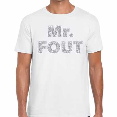 Mr. fout zilveren glitter tekst t shirt wit heren