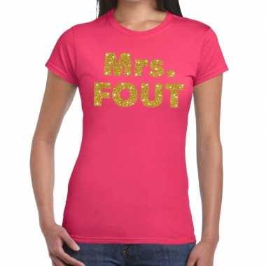 Mrs. fout goud glitter tekst t shirt roze dames