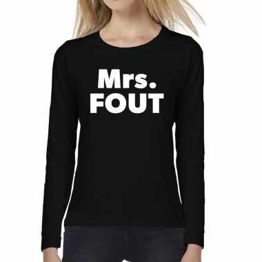 Mrs. fout tekst t shirt long sleeve zwart dames