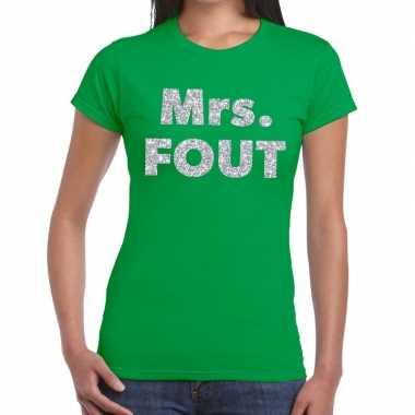 Mrs. fout zilver glitter tekst t shirt groen dames