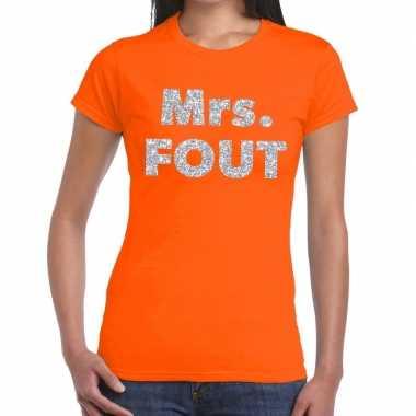 Mrs. fout zilver glitter tekst t shirt oranje dames
