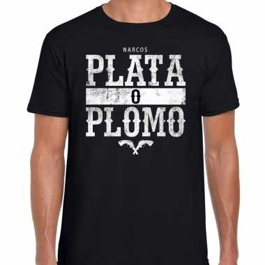 Narcos plata o plomo/zilver of lood t shirt zwart heren