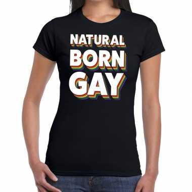 Natural born gay pride t shirt zwart dames