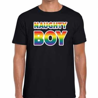 Naughty boy gay pride t shirt zwart heren