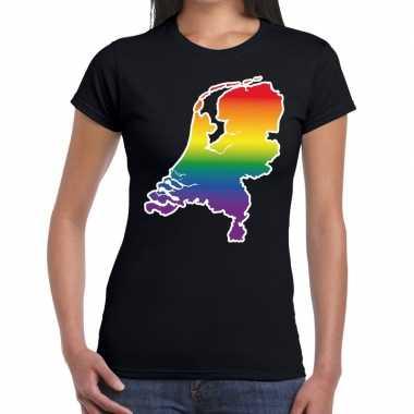 Nederland gay pride regenboog t shirt zwart dames