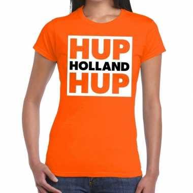 Nederland supporter t shirt hup holland hup oranje dames