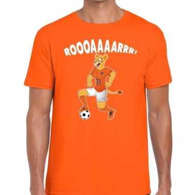 Nederland supporter t shirt leeuwin roooaaaarrr oranje heren