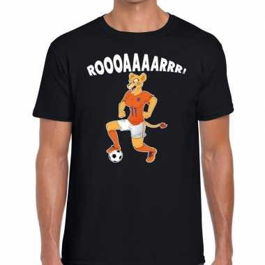 Nederland supporter t shirt leeuwin roooaaaarrr zwart heren