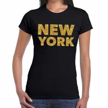 New york gouden glitter tekst t shirt zwart dames