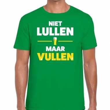 Niet lullen maar vullen tekst t shirt groen heren