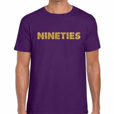 Nineties goud glitter tekst t shirt paars heren